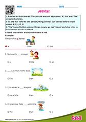 English Articles Worksheets Grade 1