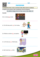 English Prepositions worksheets Kindergarten