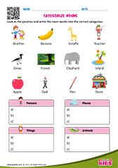 english categorize nouns worksheets grade 1. Black Bedroom Furniture Sets. Home Design Ideas