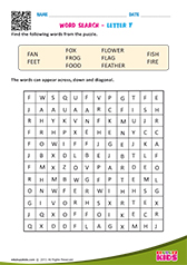 Word Search with letter f