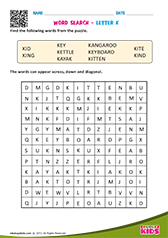 Word Search with letter k