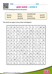 Word Search with letter q