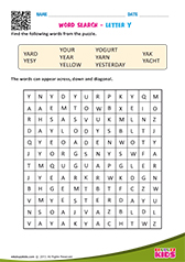 Word Search with letter y
