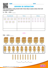 Solve drawing chips on place value chart