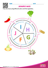 Alphabet Vegetables Maze f to j