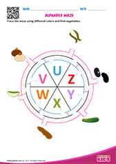 Alphabet Vegetables Maze u to z