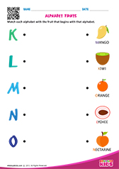 Match Alphabet Fruits k to o