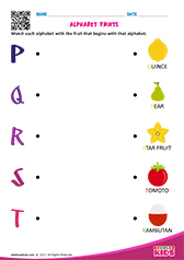 Match Alphabet Fruits p to t