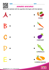 Match Alphabet Vegetables a to e