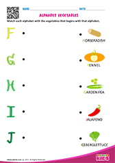 Match Alphabet Vegetables f to j