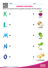 Match Alphabet Vegetables k to o